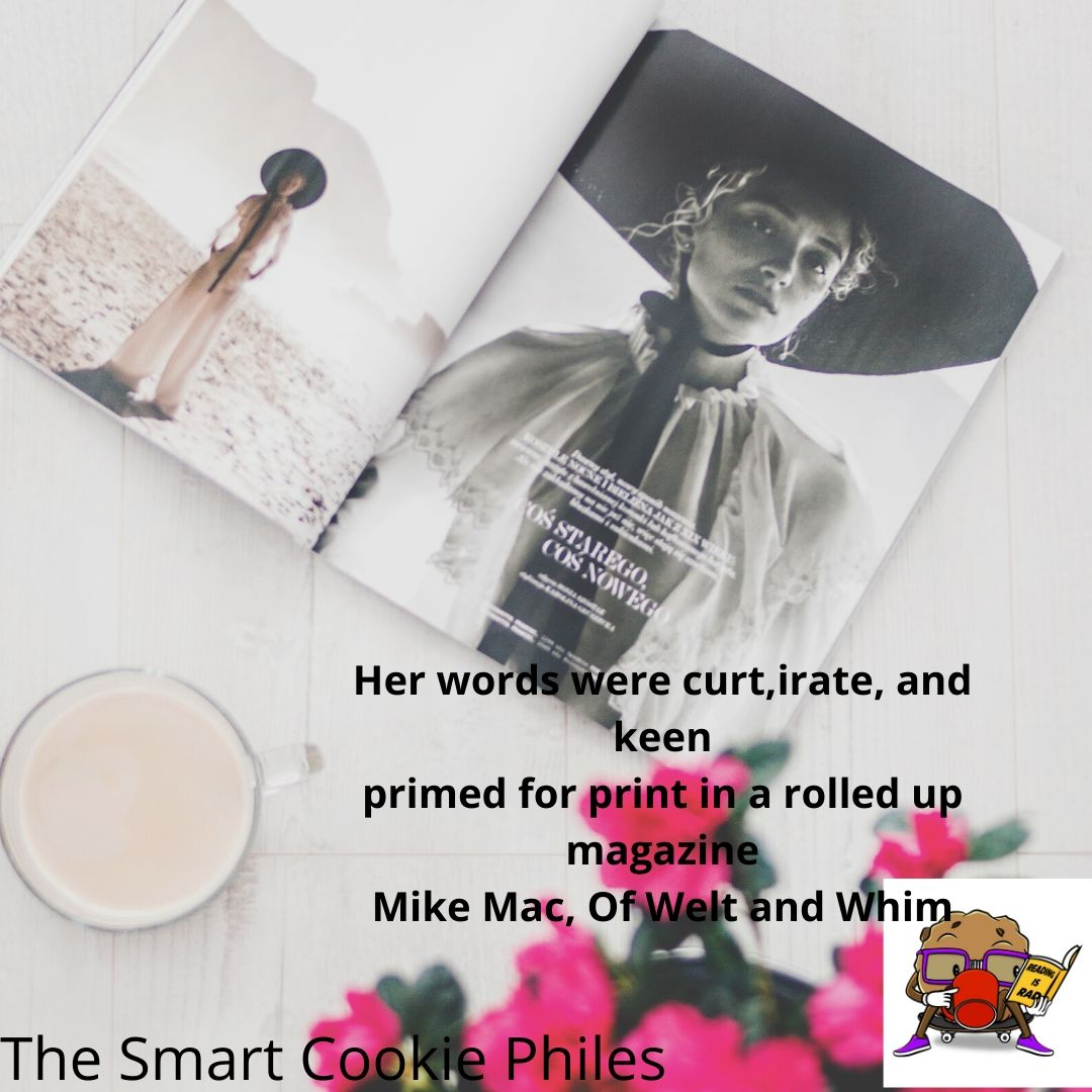 Her words were curt,irate, and keen primed for print in a rolled up magazine Mike Mac, Of Welt and Whim