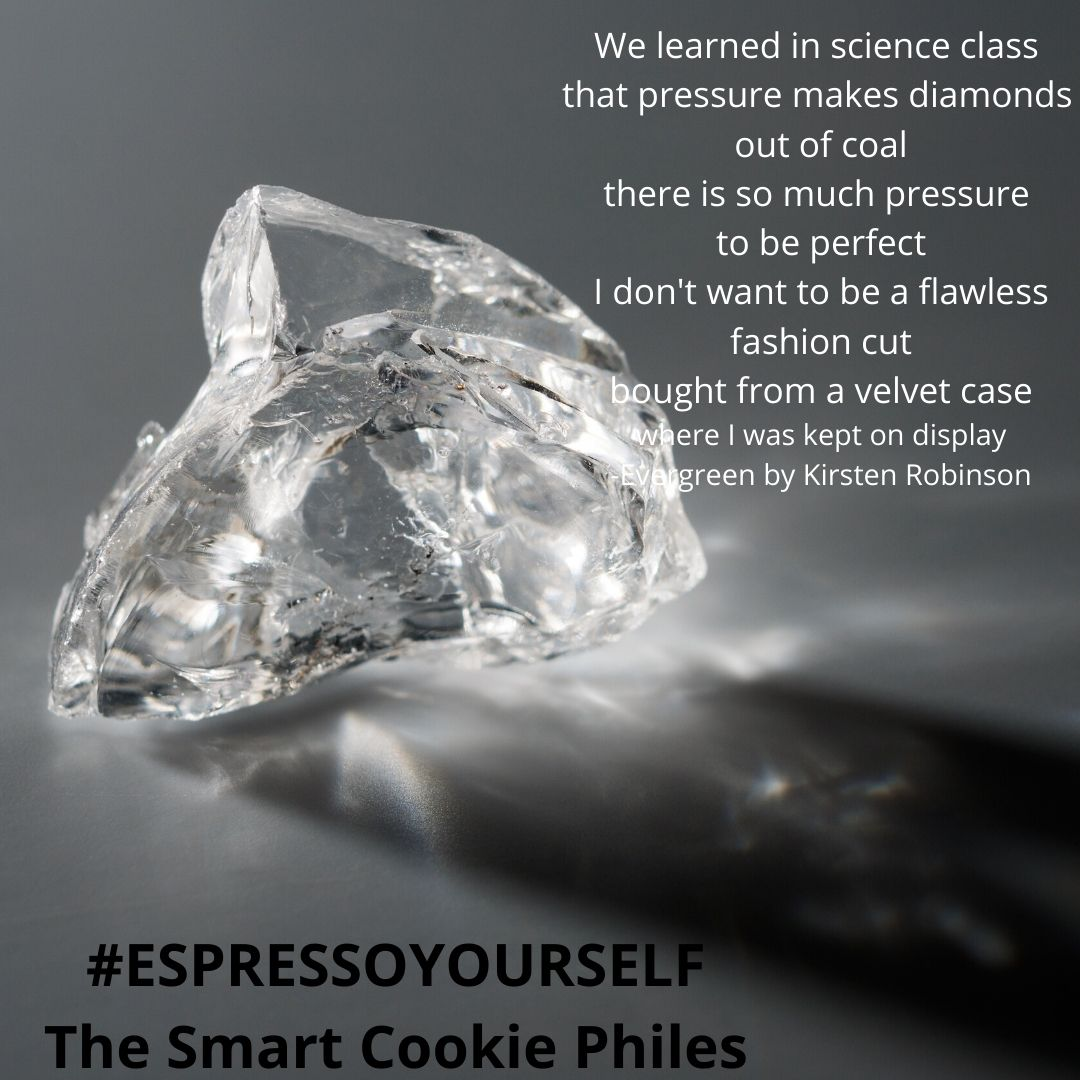 We learned in science class that pressure makes diamonds out of coal there is so much pressure to be perfect I don't want to be a flawless fashion cut bought from a velvet case where I was kept on display